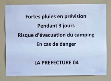 Walking in France: An ominous sign at the camping ground