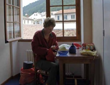 Walking in France: Preparing first breakfast at the Hotel Tivoli