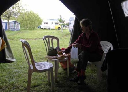Walking in France: Preparing lunch in our enormous second tent