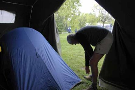 Walking in France: Pitching our tent inside the big tent