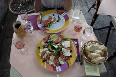 Walking in France: Our salad entrées