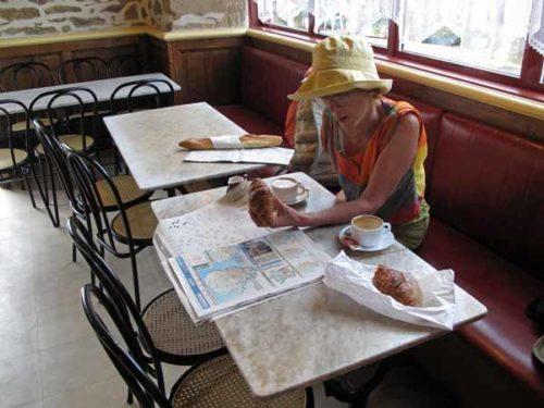 Walking in France: Second breakfast in Vigeois