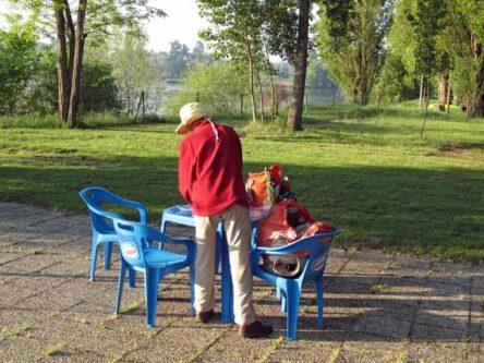 Walking in France: Preparing breakfast beside the Loire