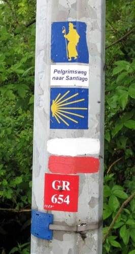 Walking in France: Two sets of pilgrim track markers