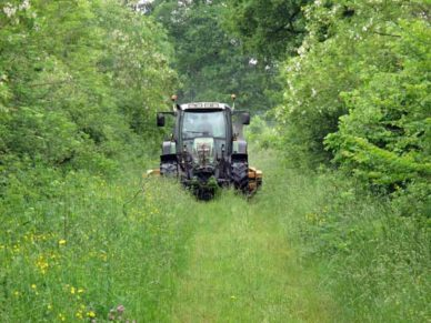 Walking in France: A confrontation with a monstrous mowing machine