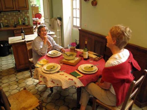 Walking in France: Dinner with Mme Mativon in her kitchen