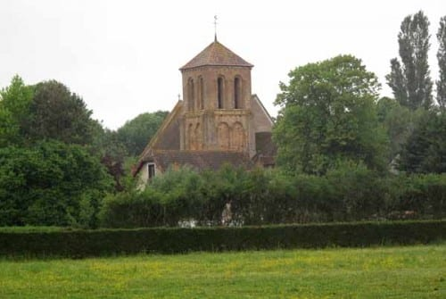 Walking in France: First glimpse of the church at Saint-Pierre-les-Étieux