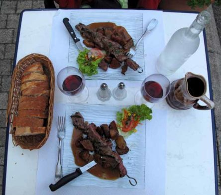 Walking in France: Followed by skewered pieces of beef