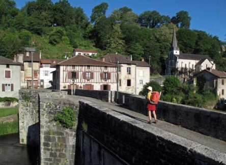 Walking in France: Leaving Saint-Léonard-de-Noblat on the old bridge over the Vienne