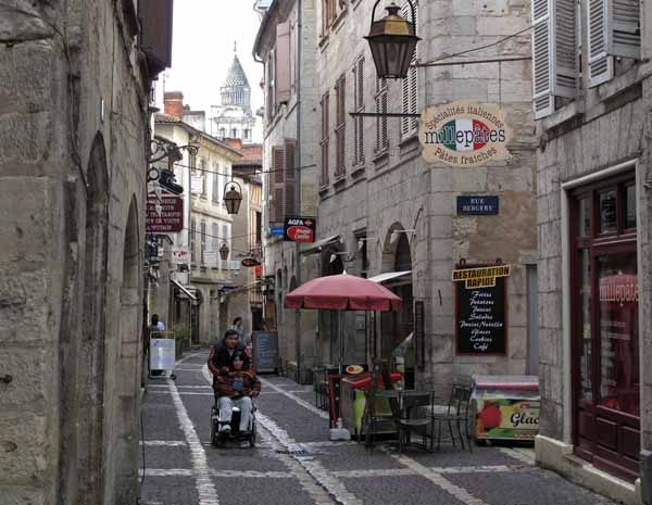 Walking in France: Heading for the cathedral through the old quarter of Périgueux