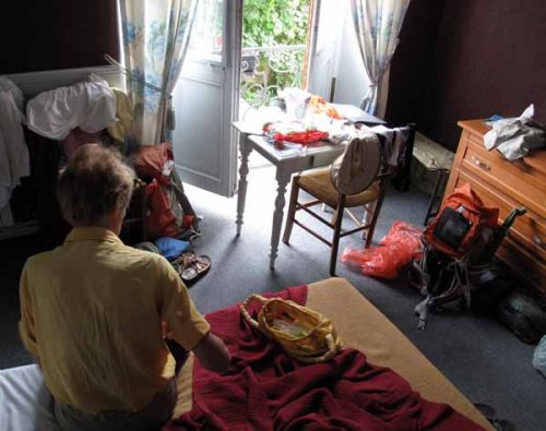 Walking in France: Dry inside our room, Hotel des Ramparts, Castillonnès