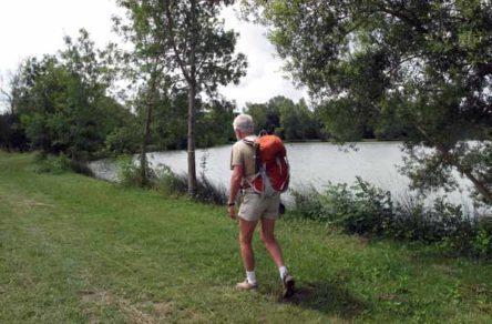 Walking in France: Passing an artificial lake below Montclar