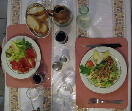 Walking in France: Our second courses for dinner, salads with meat