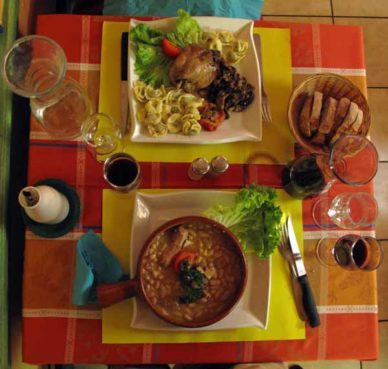 Walking in France: Our main courses at the Café des Sports