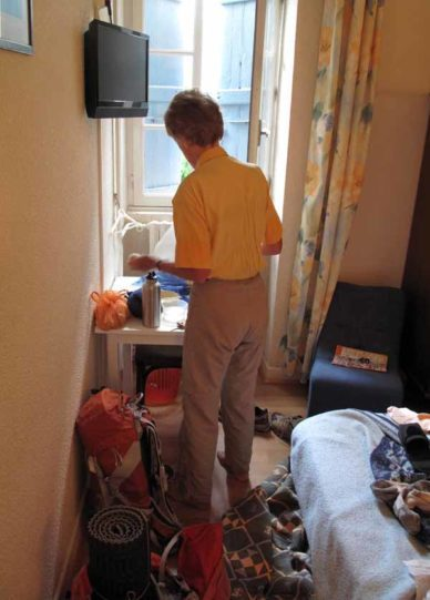 Walking in France: A tight fit in our hotel room, but we were out of the rain