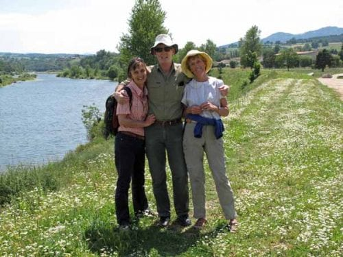 Walking in France: On levee bank next to the camping ground with Jeanette and David, Aurec-sur-Loire