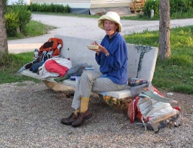 Walking in France: Breakfast in the camping ground's playground, Bas-en-Basset