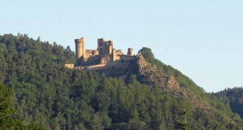 Walking in France: Looking up to the Château of Rochebaron, Bas-en-Basset