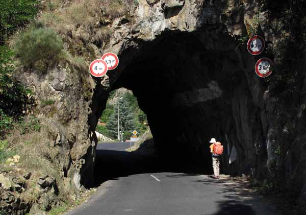 Walking in France: Through a short tunnel to enter le Chambon