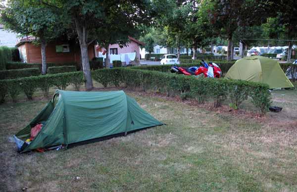Walking in France: Camping at Vorey beside the German motorbike riders