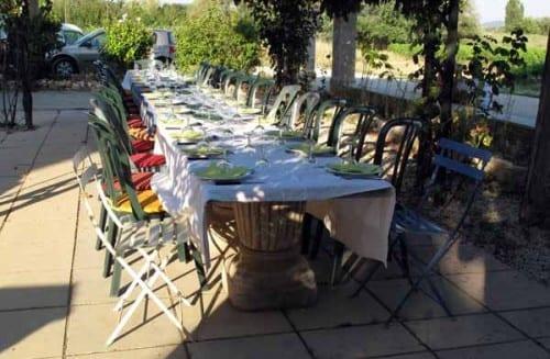 Walking in France: The long table set for dinner