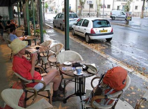Walking in France: An early morning coffee out of the rain