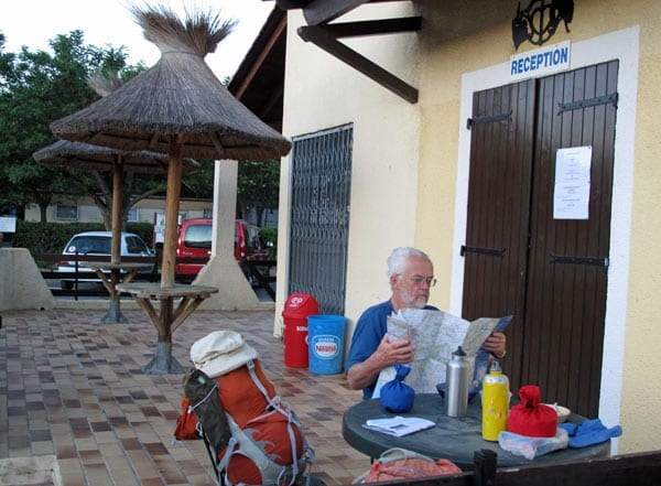 Walking in France: Perusing the day's route over breakfast