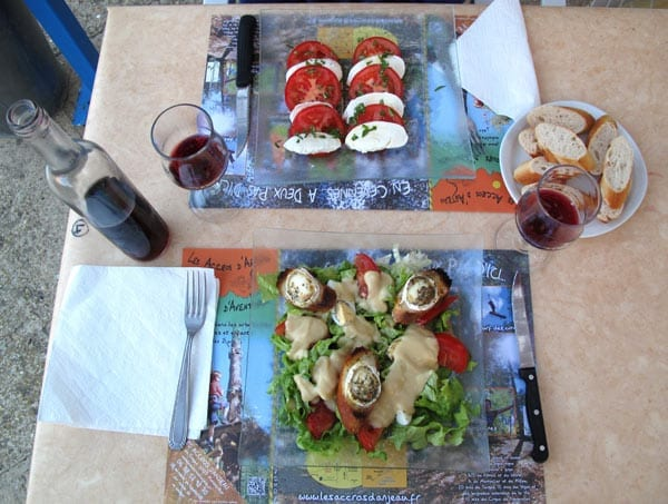 Walking in France: Our first course of two salads: a tomato and mozzarella, and a classic chèvre chaud