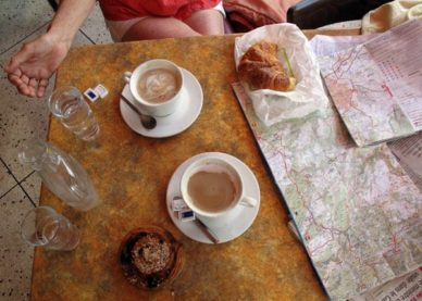 Walking in France: First breakfast in Grabels at 10:40 am