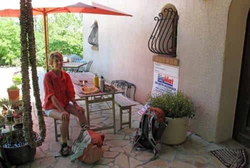 Walking in France: Pausing on the terrace at Le temps d'une Pause