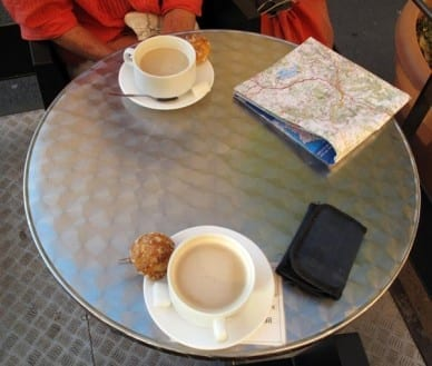 Walking in France: First coffee of the day