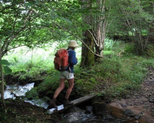 Walking in France: Across a stream