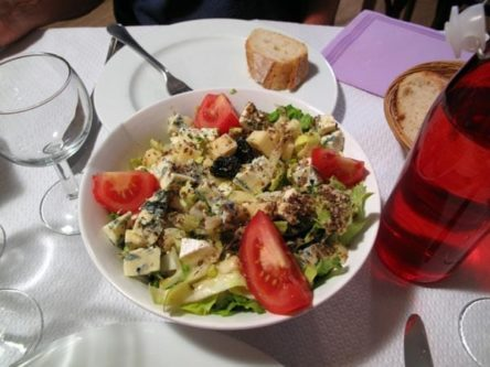 Walking in France: Starters, a shared salade auvergnate