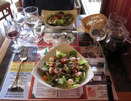 Walking in France: Our entrées: a Caesar salad and a salade auvergnate