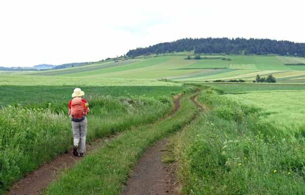 Walking in France: On the way to Barges with Mont de Tartas in the distance