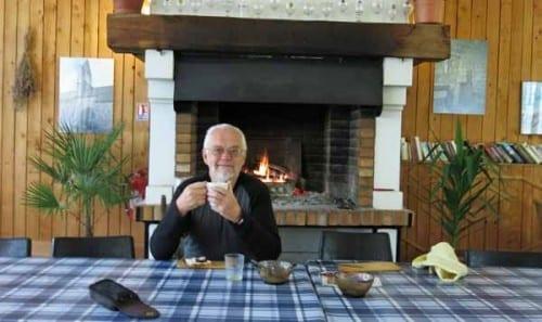 Walking in France: Breakfast by the fire