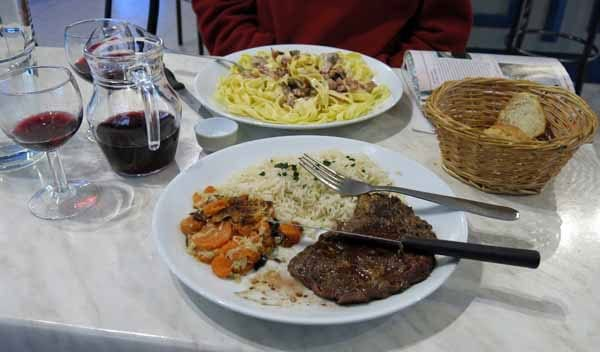 Walking in France: The main courses of our dinner