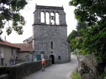 Walking in France: Approaching the church in Concoules