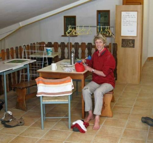 Walking in France: Boots off and happy to be inside the gîte