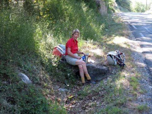 Walking in France: A snack beside the road