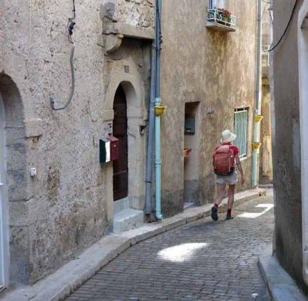 Walking in France: Descending through the back streets of Poussan