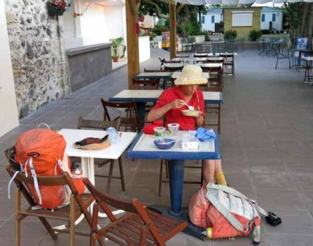 Walking in France: Breakfast on the terrace, Saint-Thibéry camping ground
