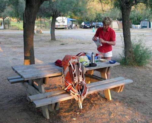 Walking in France: Preparing breakfast at the Gruissan camping ground