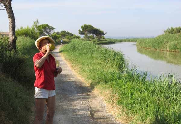 Walking in France: Time for a drink beside the Canal de la Robine