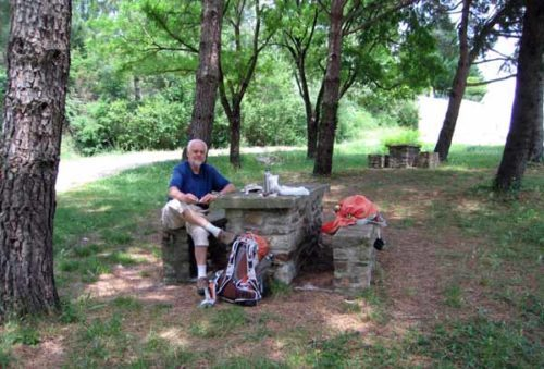 Walking in France: A drink of water and a snack at a roadside picnic area