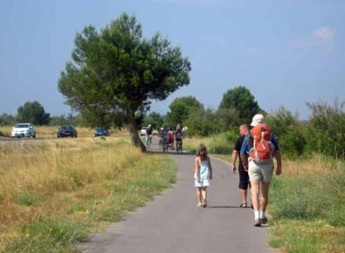Walking in France: On the cycle path