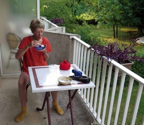 Walking in France: Breakfast on our balcony