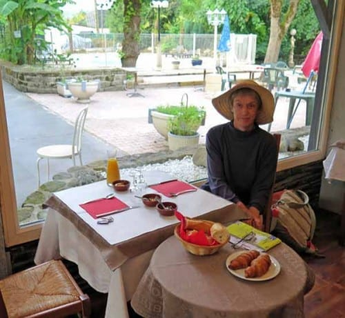 Walking in France: About to attack breakfast