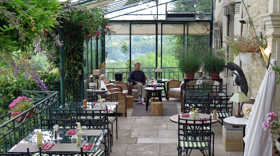 Walking in France: On the terrace, Hotel St-Robert