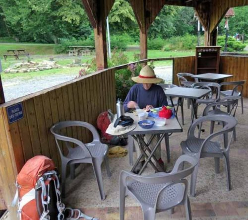 Walking in France: Breakfast at the camping ground bar